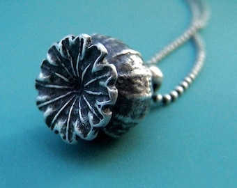 Poppy Pod Necklace in Sterling Silver Last Minute Gift Free Shipping, Gardening Gift
