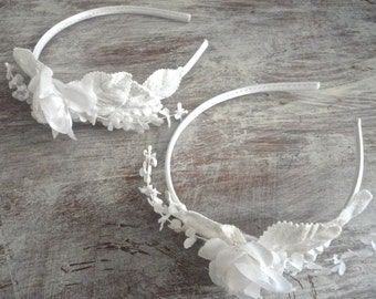 Wedding Headband, White Flower Hair Band, Brides's Head Band, Bridal Fascinator, Flower Girls, Bridesmaids, Wedding Party, Two Available