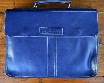 Small Size Blue Leather Messenger / Satchel - Balloo