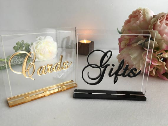 Luxury Wedding Cards and Gifts Table Sign Card Gift Signs Clear Acrylic Reception Calligraphy Freestanding Modern Font Elegant Decorations