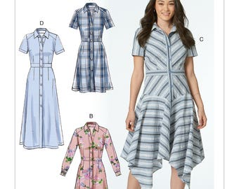 Sewing Pattern for Misses' Shirtdresses with Set-In Waistband, and Hem Variations, McCall's Pattern 7623, New Pattern, Easy Sew Pattern,