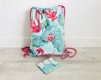 Backpack, flamingos, backpack sack, young backpack, Flemish fabric, gift, navy blue, beach bag, gym bag, purse, lace, woman