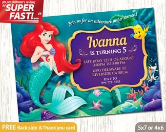 LITTLE MERMAID Invitation, Ariel Birthday Invitation, Little Mermaid Invite, Ariel Party Invitation, FREE Little Mermaid Thank You Card, v1g