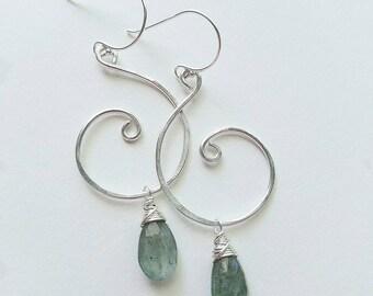 Moss Aquamarine Earrings, Moss Aquamarine Jewelry, Sterling Silver Swirl Earrings, Swirl Jewelry, Silver Moss Aquamarine Earrings