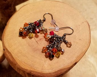Autumn fall colors gunmetal finish Swarovski Crystal cascade french hook earrings