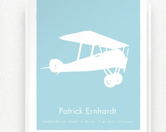 Vintage Airplane Baby Name Birth Announcement Childs Room Keepsake Art Print Poster