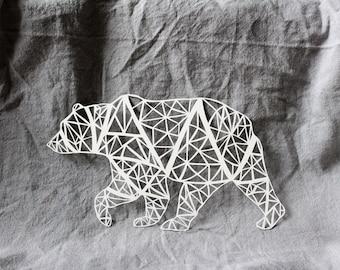Scherenschnitte Bear, Papercut Bear, Kirigami Bear, Handcut Paper Art, Kirigami Animal