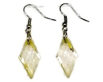 Light Yellow Twisted Facted Diamond Beaded Earrings