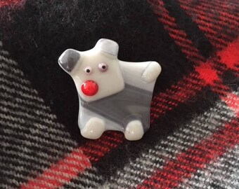 Pooch brooch - Hand crafted dog in fused glass