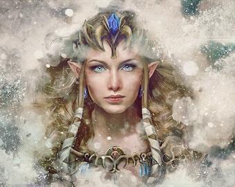 Legend of Zelda Epic Princess Zelda Painting - signed museum quality giclée fine art print