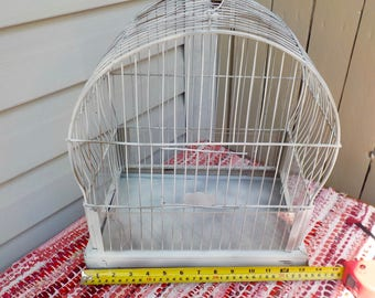 """Vintage CROWN Mid Century Bird Cage Painted White Over Brass Finish Good Condition 15"""" tall x 13' wide"""