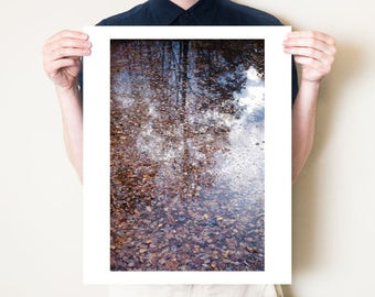 Abstract autumn leaves photograph, fall fine art photography print. Serene woodland lake reflection artwork. Sizes 5x7, 8x10, 11x14 to 30x40