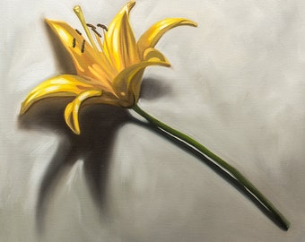 "Yellow Lily - Flower Original Still Life Oil Painting on 1/8"" Hardboard Panel by Lauren Pretorius"