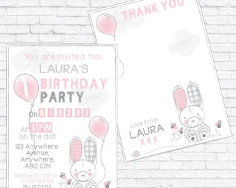 Little Bunny Personalised Birthday Invite with Thank you - DOWNLOADABLE PRINT - A5