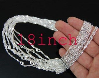 20pcs 1.5mm X 18inch silver plated Water ripple chain chain necklace