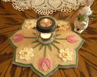 NEW***  Spring Blossoms, Wool Applique Kit, Penny Rug Kit, Felt Craft Kit, Wool Applique, Embroidery Kit, Candle Mat Kit, Table Mat Kit