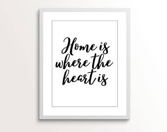 Home Is Where The Heart Is Home Decor Printable, Wall Art, Gift for Her, Gift for Mom, Living Room Decor, Wall Decor, Print, Kitchen Decor