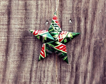 Upcycled Mountain Mt. Dew Soda Can Star Ornament