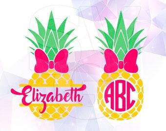 SVG DXF Pineapple Monogram Fruit Layered Cut File Cricut Design Silhouette Studio Cameo ScanNcut etc Stencil Decal Vinyl Heat Transfer Paper
