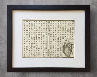 Heart Anatomy, Framed Antique Japanese Science Print