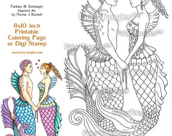 Mer Love Merman and Mermaid Printable Coloring book Sheets by Norma J Burnell Fantasy Coloring Book Pages Adult Coloring Digital Coloring