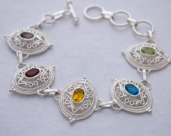 Sterling Silver Filigree Multi Stone Bracelet - Mothers - Purple - Red - Yellow - Blue