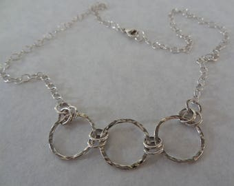 Sterling Silver Multi Circle Necklace With Cable Chain