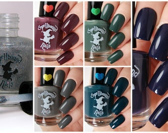 FULL SIZE The Darks with free holographic topper - custom handcrafted dark colored creme nail polish collection