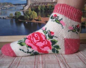 SUMMER DISCOUNTNordic Beautiful knitted Angora wool yarn socks for women. Pattern Rose EU-37-39/ US- 7-9 Soft, warm and very comfortable