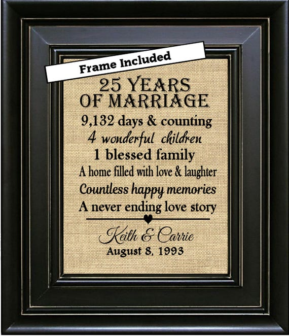 What Is The 25th Wedding Anniversary Gift: FRAMED 25th Anniversary Gift/25 Years Of Marriage/25th Wedding