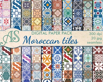 Digital Moroccan tiles Ethnic Seamless Paper Pack, 20 printable Scrapbooking papers, morocco Digital Collage, Instant Download, set 205