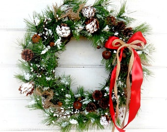 Christmas Wreath-SCENTED PINE-Winter Door Wreath-Holiday Door Wreath-Primitive Christmas Wreath-Holiday Home Decor-Choose Scent and Ribbon