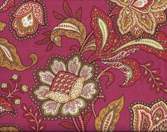 Red Floral Paisley Curtain Valance