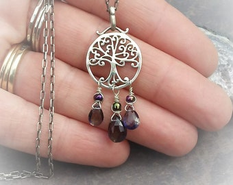 Tree Of Life Pendent-Sterling Silver Necklace-Iolite Pendent Necklace-Sterling Silver Jewelry-Blue Gemstone Jewelry