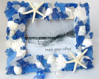 "Seashell Frame, Beach Glass Picture Frame, Nautical Sea Glass Shell Frame, Seaglass Frame, 5x7"" DARK BLUE"
