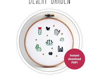 DIY embroidery pattern – Desert Garden cactus and succulent embroidery sampler - learn to embroider - stitching guide - needlework pattern