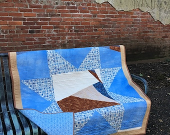 West to East Quilt large throw blanket blue hand dyed fabric star improv pieced