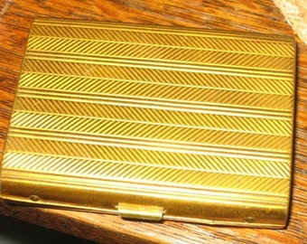 Vintage British Cigarette Case Gold Metal