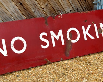 Midland double sided No Smoking railway enamel sign railwayana rail vintage antique restaurant cafe mancave