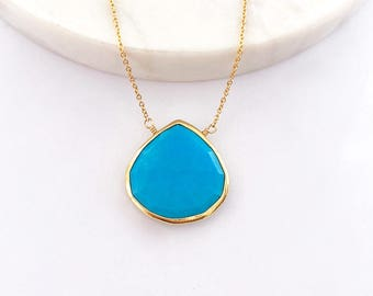 Turquoise Necklace - Gold Necklace - Turquoise Jewelry