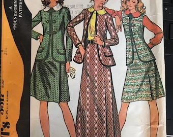 Vintage 70s McCall's 3317 Skirt/Suit Pattern-Size 8 (31 1/2-24-33 1/2)