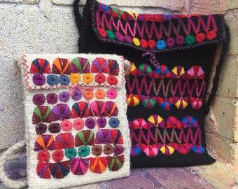 Beautiful Black Wool Handmade Crossbody Bag/ Boho bag/ Bohemian Crossbody/ Wool Crossbody Bag