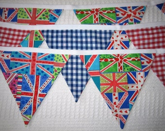 Handmade Funky Union Jack Red Blue Gingham * 18 Flags * 2 Sided * 5 mtrs