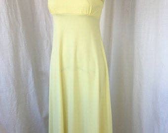 Lemon Yellow Maxi Dress, late 1970's early 80's/ Size S/ Romantic Boho Hippie Flower Power Dress Negligee Eyelet Trim Sleeveless Summer
