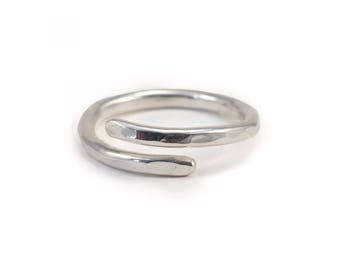 Wrap Ring, Recycled Silver Ring, Sterling Silver, Adjustable Ring, Hammered Ring, Open Ring,