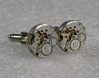SALE...Watch Movement Cufflinks  ,  Steampunk Cufflinks . Steampunk jewelry ,  Vintage Clockwork Watch Movement Cuff Links