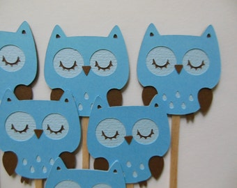 Owl Cupcake Toppers - Blue and Brown - Boy Birthday Party Decorations - Boy Baby Shower Decorations - Set of 6