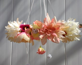 Pink, Peach, and White Floral Baby Mobile