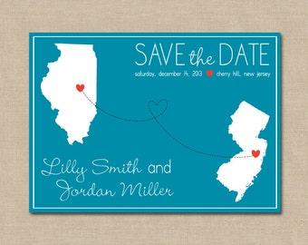 Long Distance Love Save the Date: Digital File (customizable)