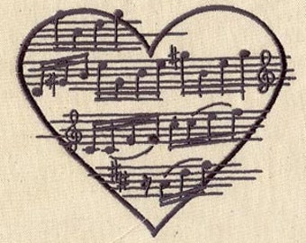 Moonlight Sonata Music in my Heart Embroidered Flour Sack Hand/Dish Towel
